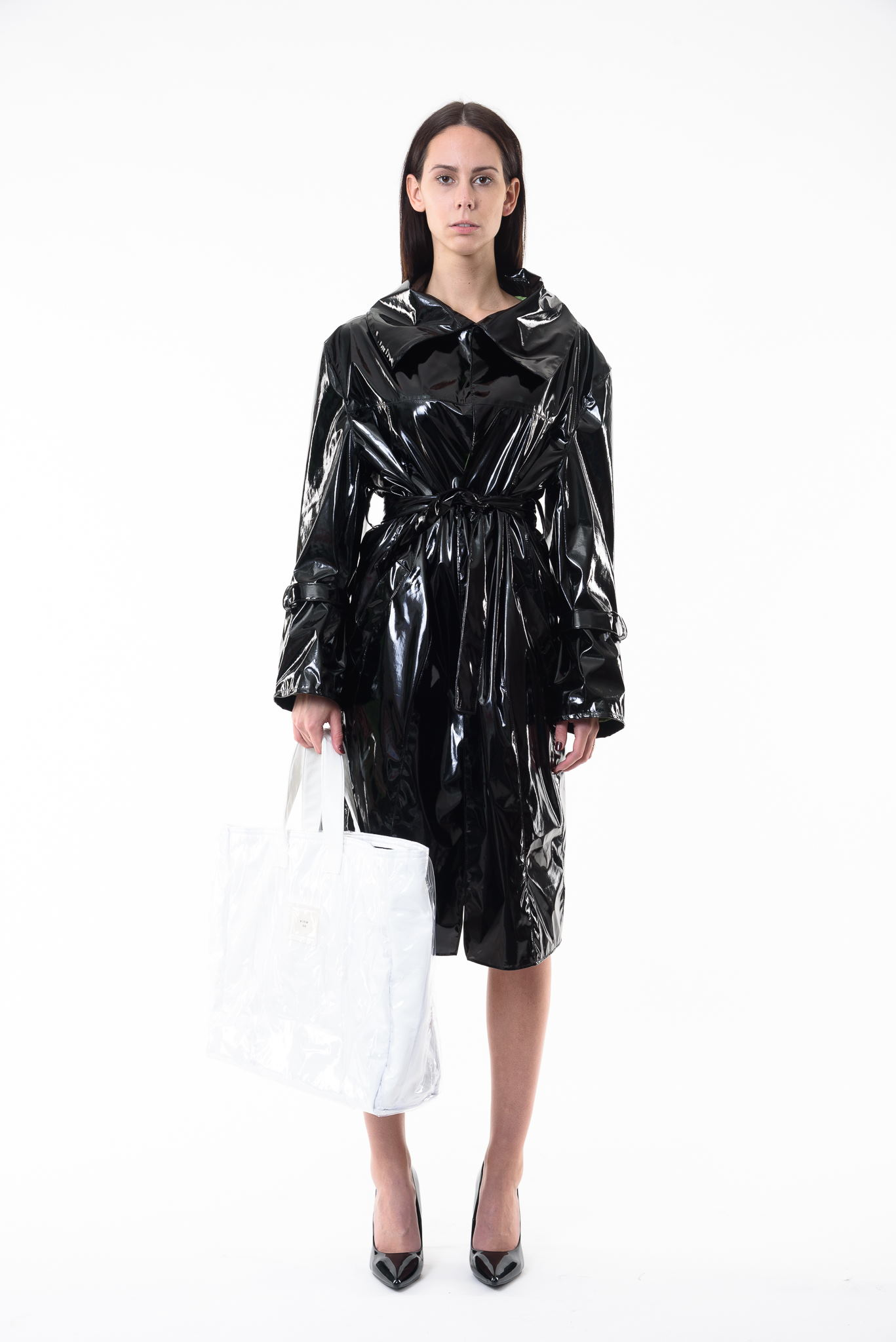 Black Vinyl Trench Coat M Fiction